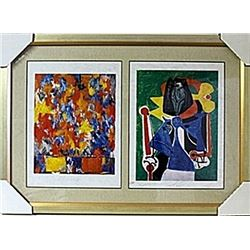 Framed 2-in-1  Jasper Johns and Picasso Lithographs (138E-EK)