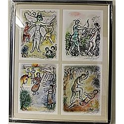 Framed 4-in-1 Marc Chagall Lithographs (185E-EK)