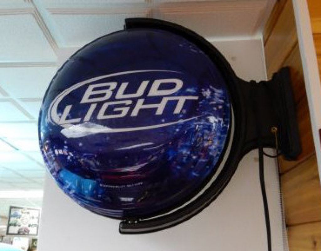 BUD LIGHT LIGHT-UP WALL MOUNT SPINNER WORKING - 21