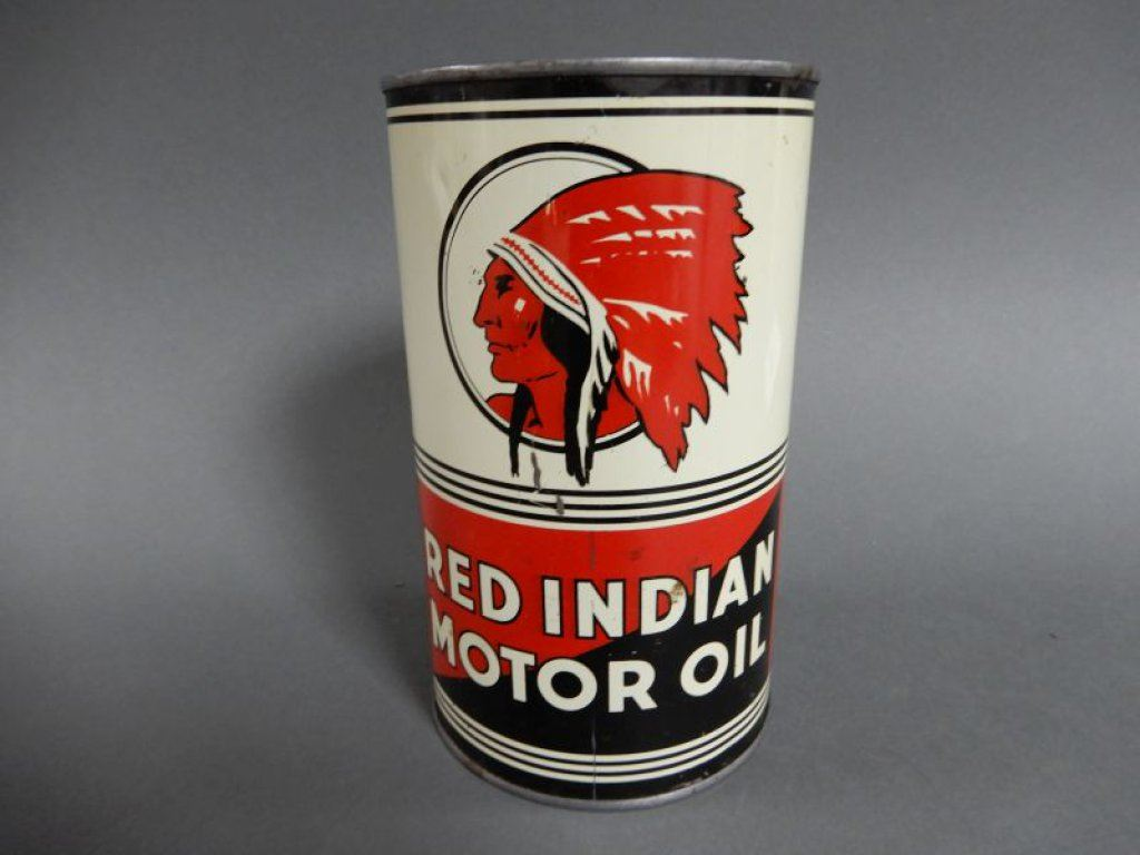 Red indian motor oil imp qt can embossed top surface for Best motor oil in the world