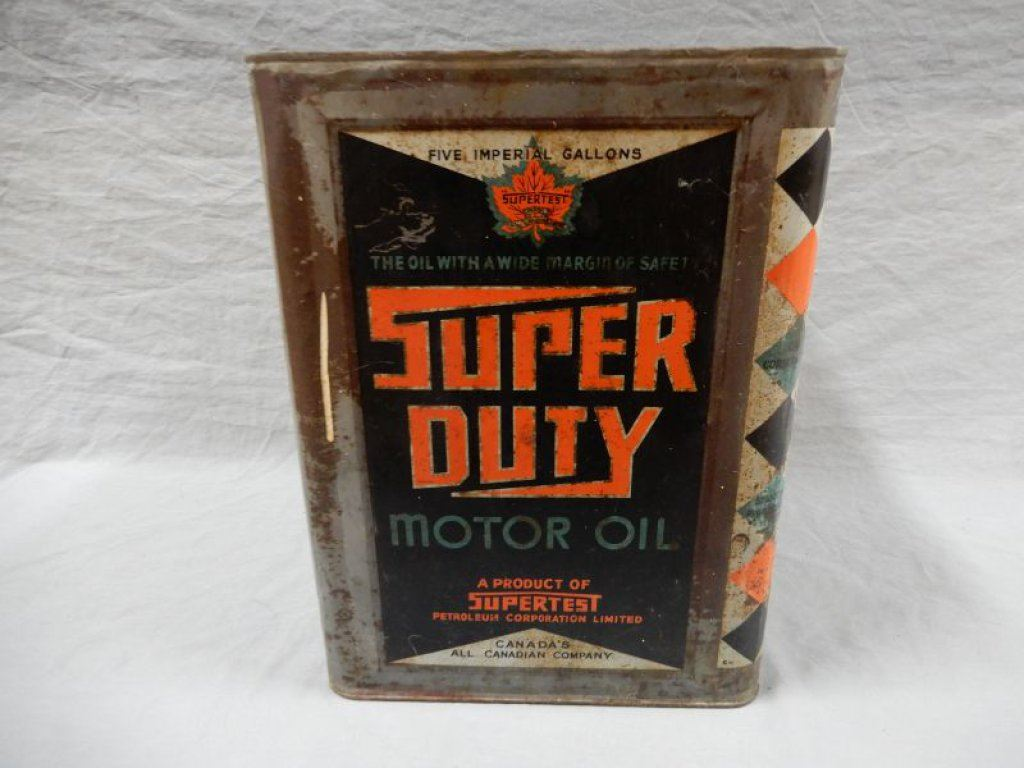 Supertest super duty motor oil 5 imp gal can no lid for Where can i get rid of used motor oil