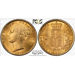 1877S Shield Sovereign MS 62