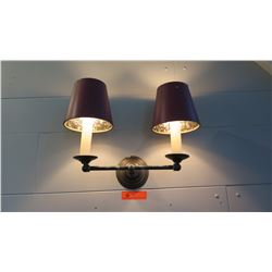 "Wall Light Fixture w/ 2 Lamp Shades 12""L x ""11""H"