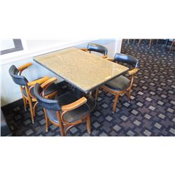 Granite Table (29x46x28.5H) and 4 Mid-Century Wood Chairs, Upholstered