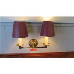 Wall Light Fixture w/ 2 Lamp Shades