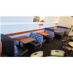 Upholstered Booth Seating Set w/Blue Geometric Backrest - S (32Lx40H) M (49Lx33H) - Tables not inclu