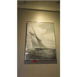 "Framed Print: Black & White ""Beken of Cowes"" Sailboats 24"" x 31.5"""