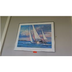 "Framed Poster: ""Off Newport Beach"" - Robert Schaar  38"" x ""30.5"""