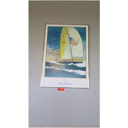 "Framed Art: ""Stars and Stripes"" Sailboat with American Flag 23"" x 33"""
