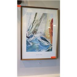 "Framed Art: ""At the Mark"" Sailboat in Rough Sea - Willard Bond 25"" x 35"""