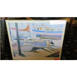 "Framed Art: Sailboats at Dock - Gail Specknann 34"" x 28"""
