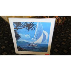 "Framed Art: South Pacific Sailing - Robert Schaar 31.5"" x 32"""