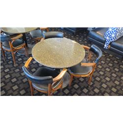 "Granite Round Table (24"" dia, 28.5"" H) w/3 Mid-Century Wood Chairs, Upholstered (granite chipped)"