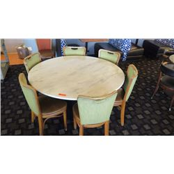 "Marble White Round Table (54"" dia) w/7 Textured Green Threadback Chairs, Padded Seats"