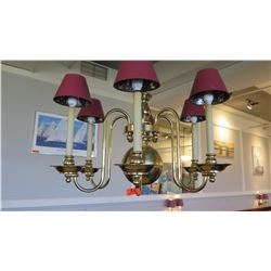 Candle Chandelier w/ Brass Base & 6 Shades