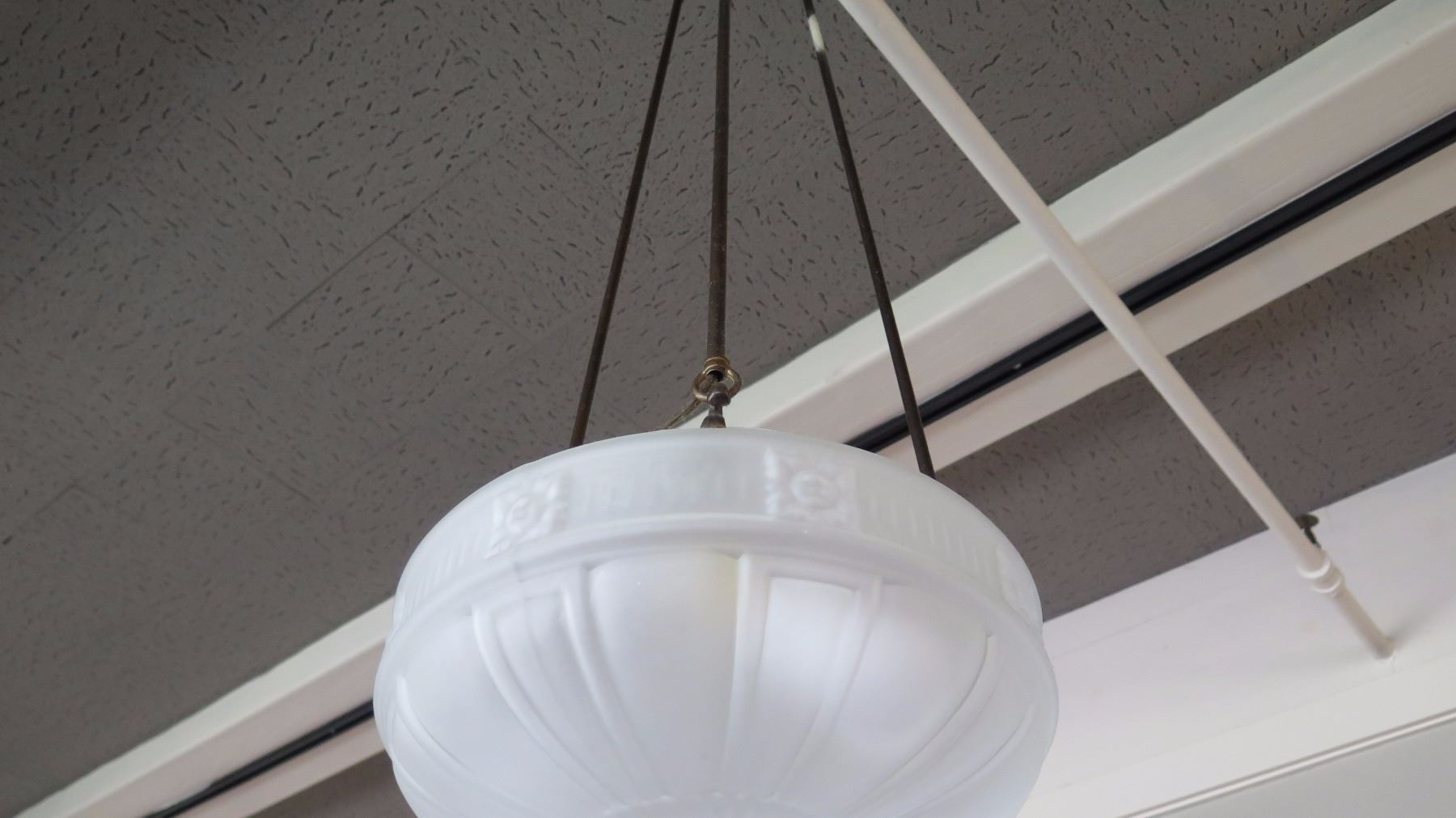 Hanging Ceiling Light Fixture w/Frosted Glass Dome (already removed ...
