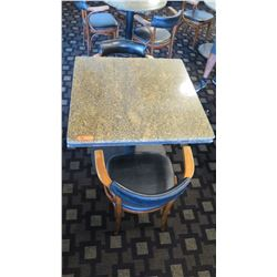 "Granite Square Table (35"" dia, 28.5"" H) w/2 Mid-Century Wood Chairs 29.5"" H, Upholstered"