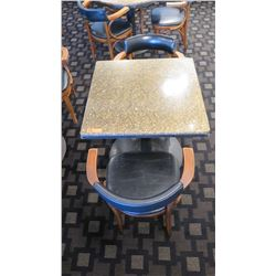 "Granite Square Table (29"" dia, 28.5"" H) w/2 Mid-Century Wood Chairs 29.5"" H, Upholstered"