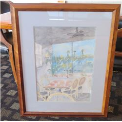 "Framed Watercolor of ""Kincaid's Coveted Table 60"" - Koa Wood Frame, Artist Unknown  33.5"" x 28"""