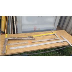 Lot of Misc. Measuring Tools: Framing Squares, T Squares