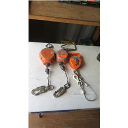 Qty 2 Misc. Retracting Lifelines (untested and should be examined before use), Chalkline Reel