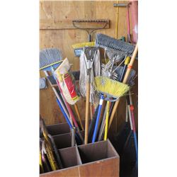 Large Lot of Misc. Brooms, Brush Push Brooms, Scrub Brooms, Mops
