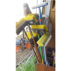 Large Lot of Misc. Scrub Brushes, Mops