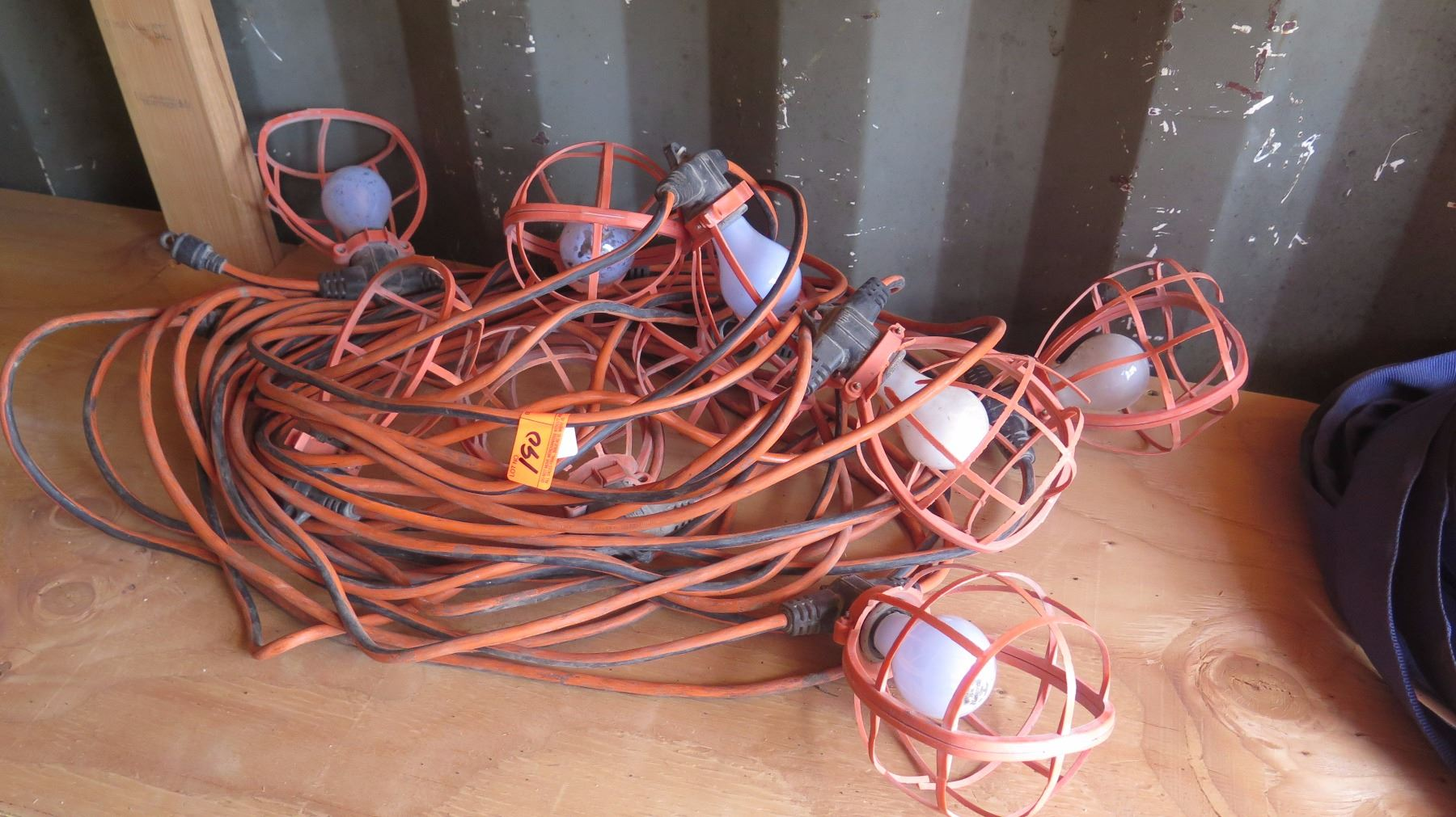 Plastic-Cage Utility String Lights - Orange Cabling - Oahu Auctions