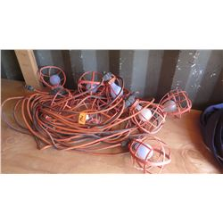 Plastic-Cage Utility String Lights - Orange Cabling