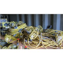 Large Lot Plastic-Cage Utility String Lights - Yellow Cabling