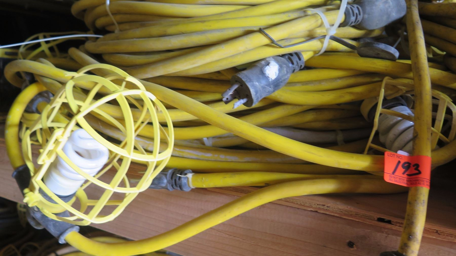 String Utility Lights : Large Lot Plastic-Cage Utility String Lights - Yellow Cabling - Oahu Auctions