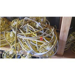 Large Bundle Plastic-Cage Utility String Lights - Yellow and White Cabling