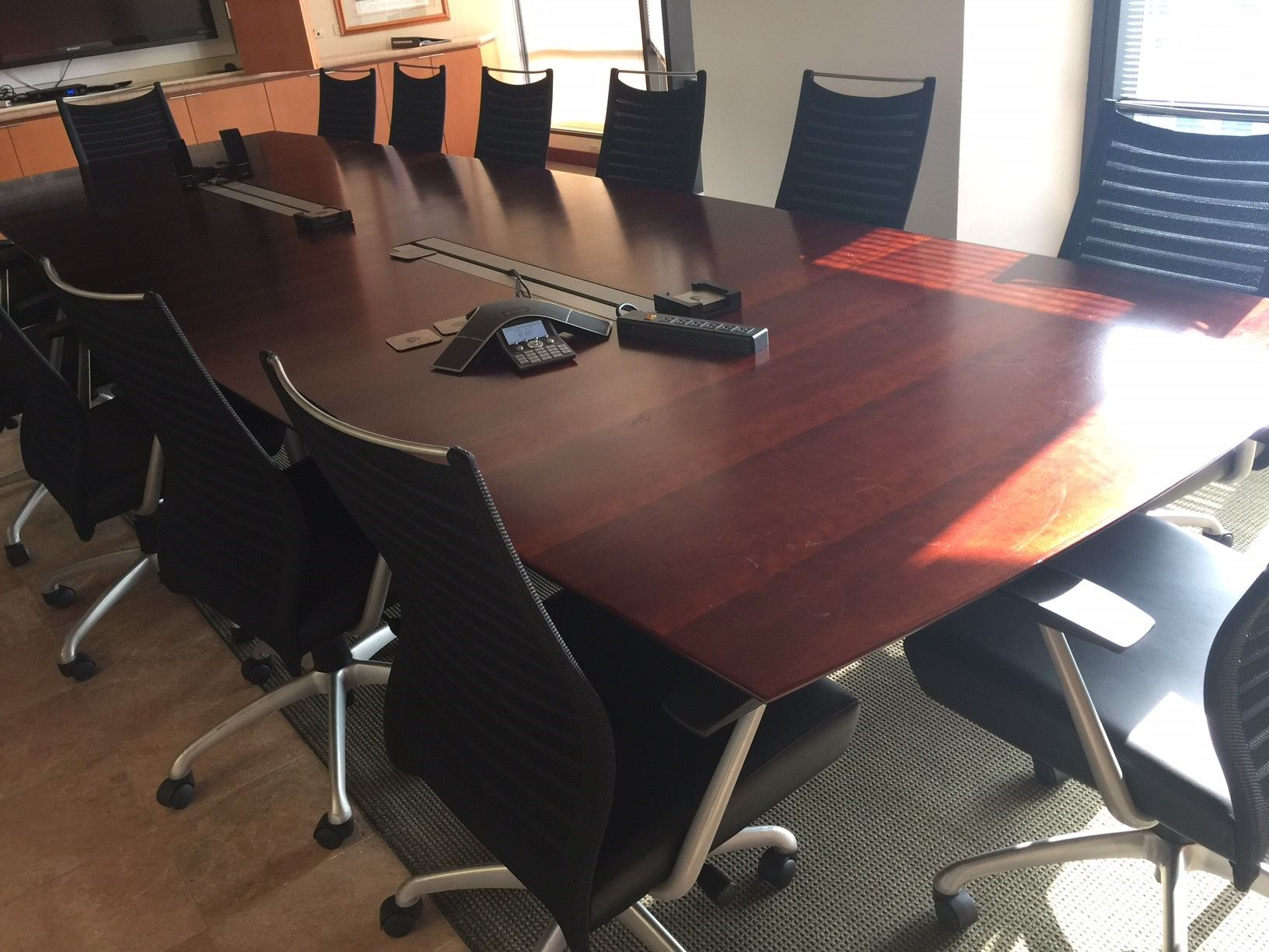 Conference Table W Beige Rolling Chairs Black Chairs Not Included - Rolling conference table