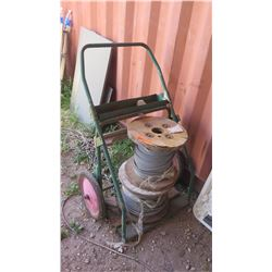 2 Spools of Wire Cable w/Cart