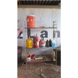3-Shelf Wire Shelving w/Contents: Gas Can, Water Dispenser, Fire Extinguishers, etc.