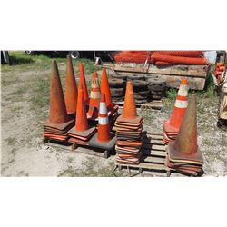 Approx. 80 Qty Large Lot of Industrial Orange Rubber Cones