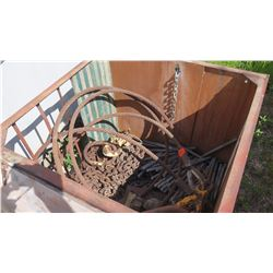Lot of Steel Cables, Chains, Rods, Lifting Hooks, etc.