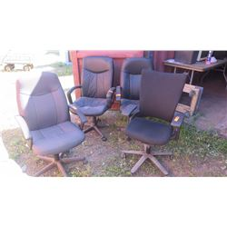 Qty 4 Executive Office Chairs w/Swiveling Base