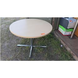 Contemporary/Modern Round Maple Veneer Table w/Chrome Base