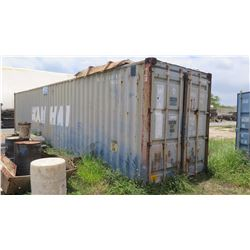 40-Foot Shipping / Storage Container (Contents Not Included, Except Attached Shelving)