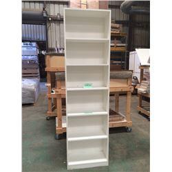 "Vertical Freestanding Shelving Unit w/6 Shelves - White Plywood 25-1/2""w x 12""d x 92""h"