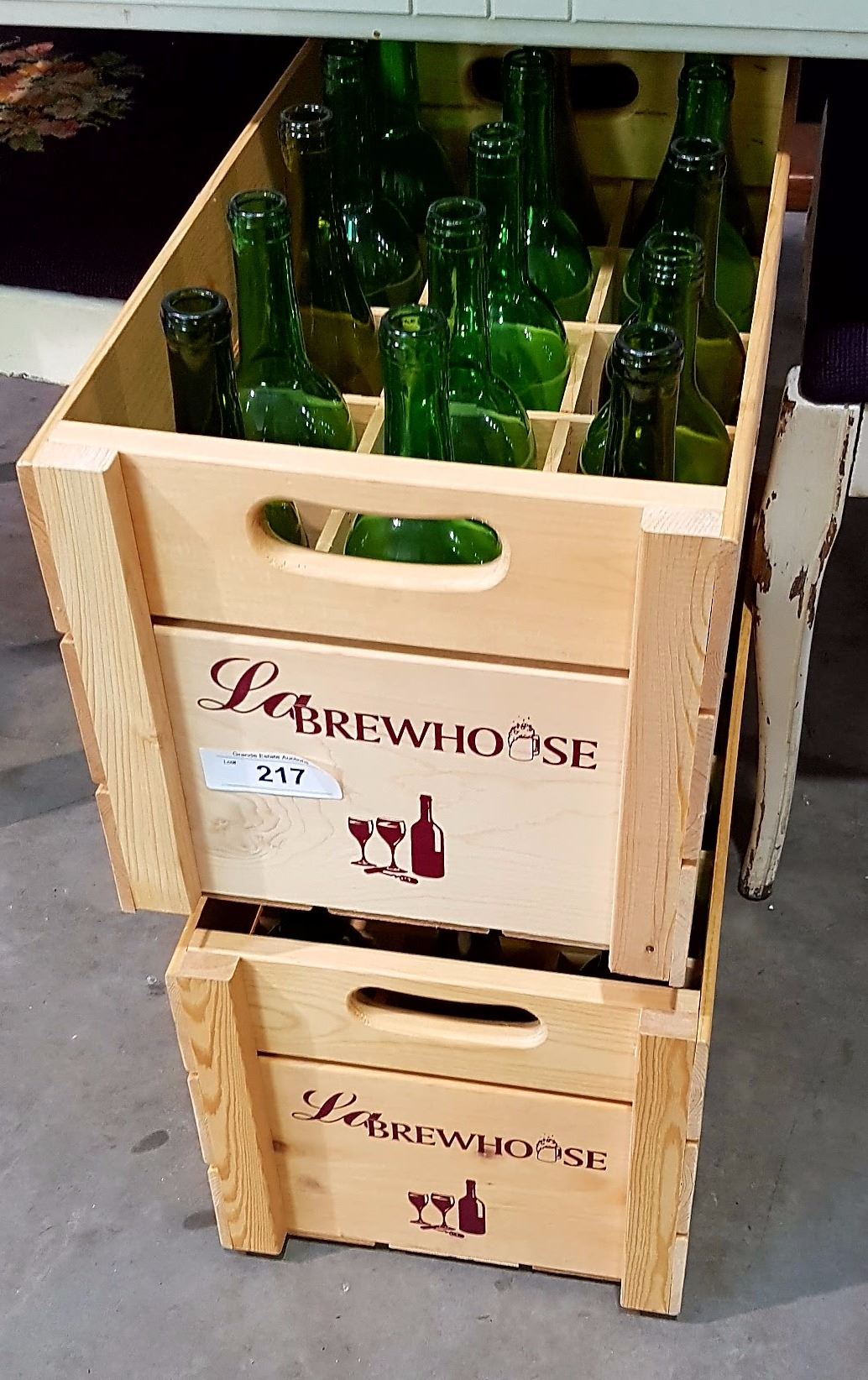 Two Wooden Crates Of Wine Bottles