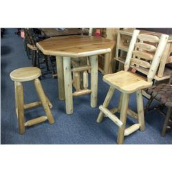 Octagon Pub Style White Cedar Wood Table with 4 Stools