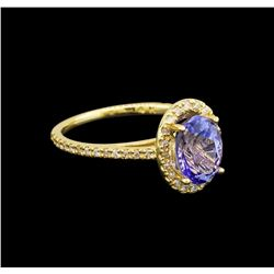 14KT Yellow Gold 1.50 ctw Tanzanite and Diamond Ring