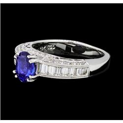 1.22 ctw Blue Sapphire And Diamond Ring - 18KT White Gold
