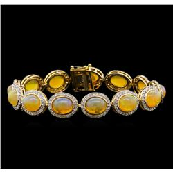 17.96 ctw Opal and Diamond Bracelet - 14KT Yellow Gold