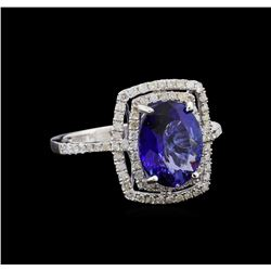 2.84 ctw Tanzanite and Diamond Ring - 14KT White Gold