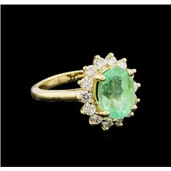 3.25 ctw Emerald and Diamond Ring - 14KT Yellow Gold