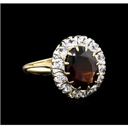 2.50 ctw Garnet and White Sapphire Ring - 14KT Yellow Gold