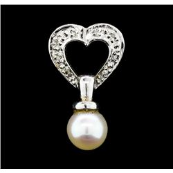 0.05 ctw Diamond and Pearl Pendant - 14KT White Gold